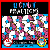 DONUT FRACTIONS CLIPART: FOOD FRACTIONS CLIPART: MATH CLIPART