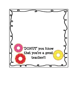 DONUT Treat Bag Toppers for TEACHERS