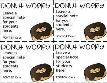 DONUT WORRY - Editable Notes for Your Students