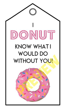 DONUT (doughnut) appreciation tags printable