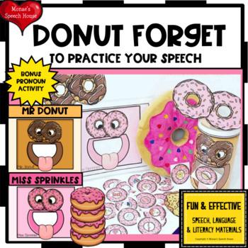 DONUTS ARTICULATION PRONOUNS FEEDING MOUTH EASY PREP NO PREP
