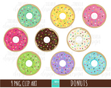 DONUTS clipart, food clipart, desserts clipart, cute