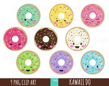 DONUTS clipart, food clipart, sweet treats clipart, kawaii clipart, kawaii donut