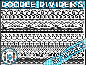 DOODLE DIVIDERS ACCENTS FOR WORKSHEETS- 30 DOODLE DIVIDERS