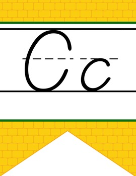 DOROTHY & OZ - Alphabet Banner, handwriting, A to Z, D'Nealian manuscript/ brick