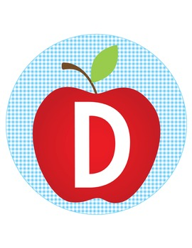 DOROTHY & OZ  - CIRCLE Bulletin Board Letters / blue gingham