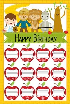 DOROTHY & OZ - Classroom Decor: Happy Birthday - size 24 x 36 poster