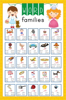 DOROTHY & OZ - Classroom Decor: Lang Arts, Word Families POSTER - size 24 x 36
