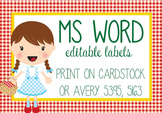 DOROTHY & OZ - Labels, MS Word, EDITABLE / Wizard of OZ