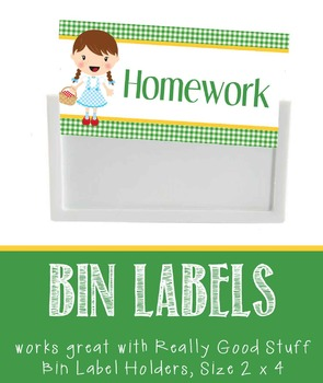 DOROTHY & OZ - Labels for Bin Holders, MS Word / editable