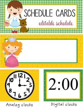 DOROTHY & OZ - Schedule Cards / editable MS WORD