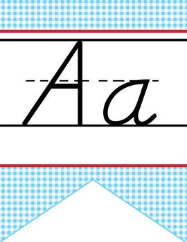 WIZARD of OZ - Alphabet Flag Banner, handwriting, A to Z, D'Nealian manuscript