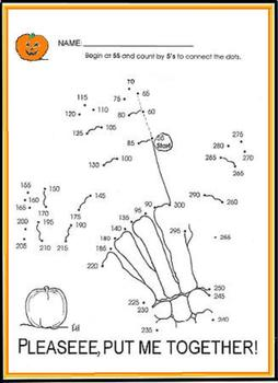 "SKELETON SCIENCE or HALLOWEEN MATH ""COUNT BY 5s"" ACTIVITY SHEET-GRDS K-4!!"