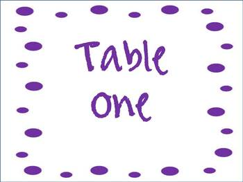 DOT Table Signs (Tables 1-6)