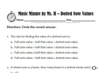 DOTTED NOTE VALUES WORKSHEET and VIDEO for Elementary Music Class - Use for  Sub!