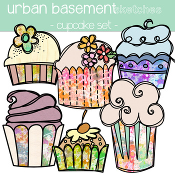DOUBLE Cupcake colour and blackline stamp clipart sets