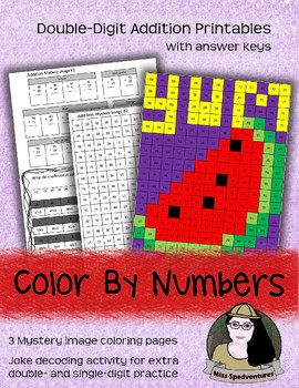 DOUBLE-DIGIT ADDITION: Grid Mystery Image Coloring Page (3 Printables)