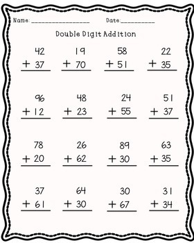 DOUBLE DIGIT SUBTRACTION AND ADDITION! 20 pages!