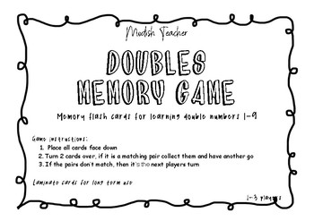 DOUBLE NUMBERS MEMORY GAME