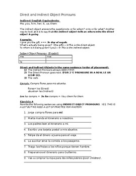 DOUBLE OBJECT PRONOUNS WORKSHEET