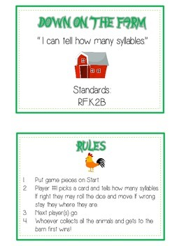 DOWN ON THE FARM Syllables - ELA First Grade Folder Game - Word Work Center