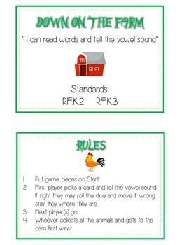 DOWN ON THE FARM Vowels- ELA First Grade Folder Game - Word Work Center