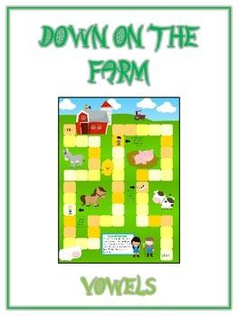 DOWN ON THE FARM Vowels- ELA First Grade Folder Game - Wor