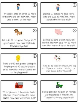 DOWN ON THE FARM - Word Problems Adding & Subtracting - Math Folder Game