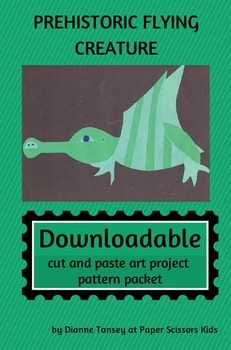 DOWNLOADABLE PREHISTORIC FLYING CREATURE CUT AND PASTE ART PATTERN PACKET