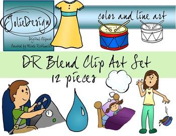DR Blend Phonics Clip Art Set - Color and Line Art 12 pc set
