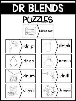 DR Blends Phonics Center:  Picture and Word Match Puzzles