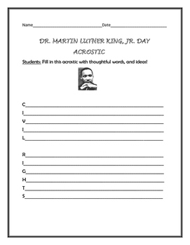 DR. MARTIN LUTHER KING, JR. DAY ACROSTIC