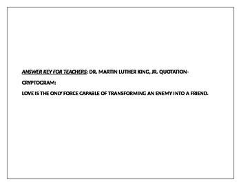 DR. MARTIN LUTHER KING, JR. QUOTATION-CRYPTOGRAM