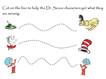 DR. SEUSS INSPIRED TRACING/CUTTING PRACTICE, Read Across America