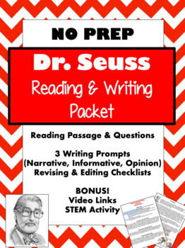 DR. SEUSS {Theodor Geisel; Read Across America Day} READING WRITING STEM PACKET