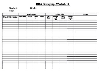 DRA Groupings Worksheet
