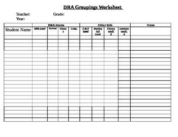 DRA Groupings Worksheet