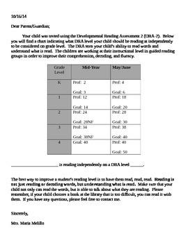 DRA Level Chart Parent Letter (Editable)
