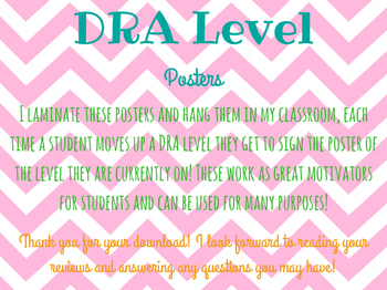 DRA Level Posters