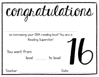 DRA Reading Certificates - First Grade