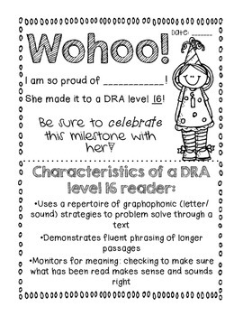 DRA Reading Level Black & White Certificates! DRA Levels 2-70! Printer Friendly!