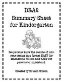 DRA2 Kindergarten Mid Year Summary Sheet