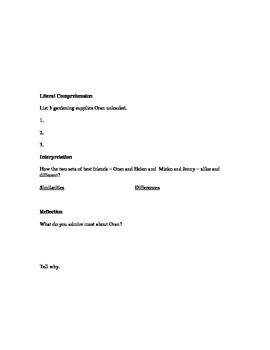 DRA2-style Questioning Sheet for Friendship Garden