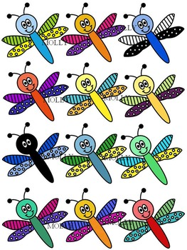 DRAGONFLY CLIPART * COLOR AND BLACK AND WHITE