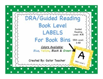 DRA/Guided Reading Level Book Bin LABELS