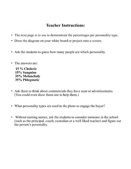 DRAMA LESSON:  CHARACTER DEVELOPMENT/PERSONALITY PROFILE DISTANCE LEARNING