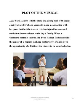 DISTANCE LEARNING DRAMA LESSON:  DEAR EVAN HANSEN, THE BROADWAY MUSICAL