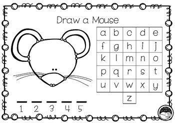 DRAW A MOUSE TEMPLATE (hangman alternative) for spelling, phonics etc