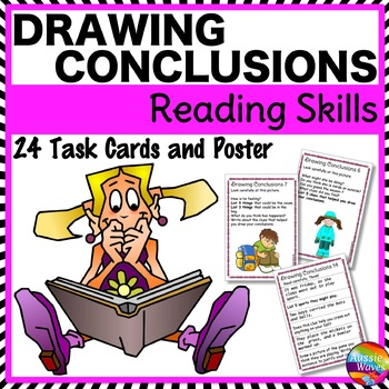 DRAW CONCLUSIONS or INFERENCES Task Cards for READING COMPREHENSION SKILLS