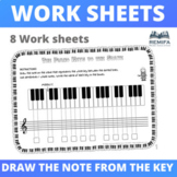 DRAW THE NOTE ON THE STAVE THAT MATCHES THE KEY ON THE PIANO